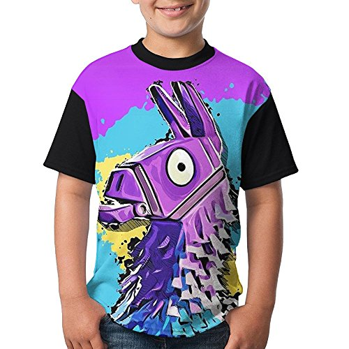For-tnite Llama Unicorn Youth Boy's Short Sleeve Round Neck Blouse T Shirts (Cool Ideas For Couples Halloween Costumes)