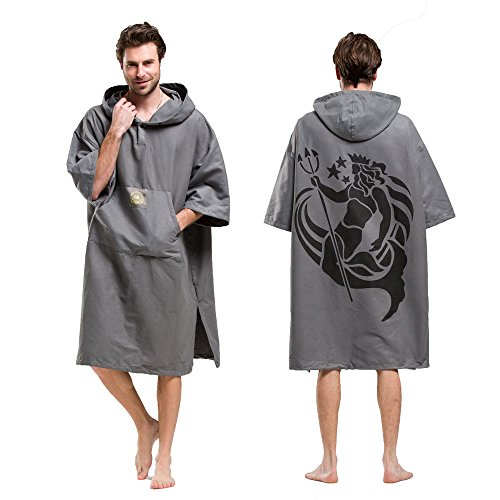 - Hiturbo Wetsuit Changing Robe Towel Poncho with Hood Sleeve Pocket for Surfer Swimmer One Size Fit All
