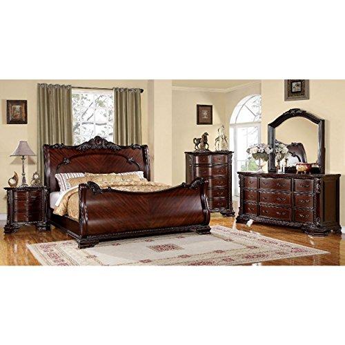 Haverfield Baroque 5 Piece Sleigh Cal King Bed, 2 Nightstand, Dresser, Mirror in Brown (California King Dresser)