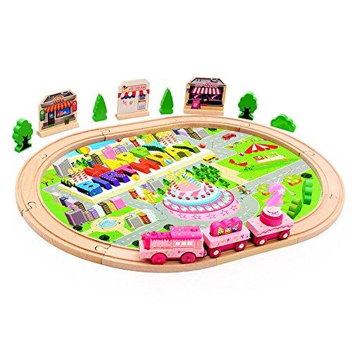 Zhenyu 39pcs木製教育玩具誕生日ギフト電子City TrainレールセットToy with Music機関車おもちゃベビーボーイズガールズキッズの商品画像