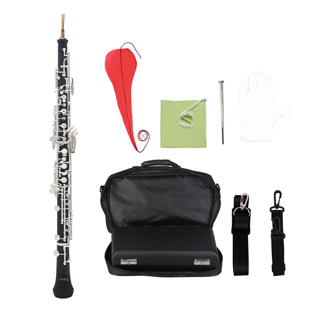 Muslady C Key Oboe Semi-automatic Style with Oboe Reed Gloves Leather Case Carry Bag Neck Strap Cleaning Cloth Mini Screwdriver