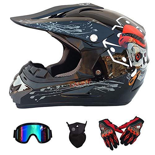 Y.P Motocross Helmet Children Kids Full Face Motorcycle Gloves Goggles Mask Adult Off Road Motorbike Bicycle ATV/MX/BMX/Downhill/Enduro/MTB Helmet D.O.T Certified(Bright Black) (Camera Helmet Motocross)