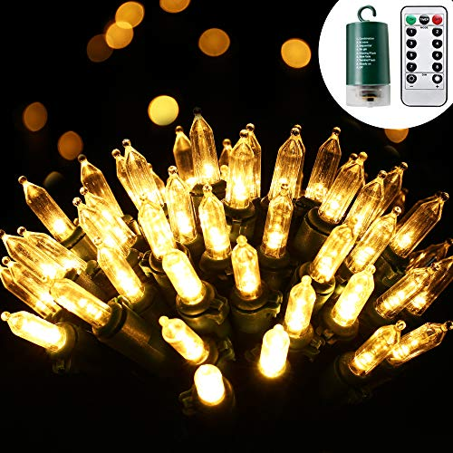 RECESKY 100 LED Christmas String Lights with Remote and Timer - 33ft Clear Mini Battery String Light - Fairy Lighting Decor for Outdoor, Indoor, Yard, House, Garland, Christmas Decorations, Warm White (Garland Range Outdoor)