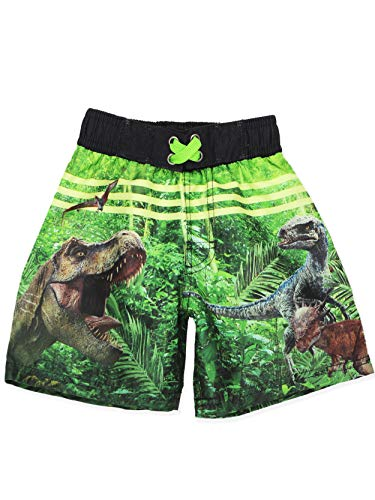 Universal Studios Jurassic World Dinosaurs Boy's Swimwear Swim Trunks (7, Black/Green) -