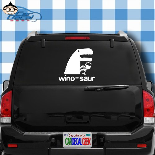 Winosaur Funny Wine Vinyl Decal Sticker for Car Truck Window Laptop Macbook Wall Cooler Tumbler   Die-cut/No Background   Multiple Sizes and Colors , 20-Inch - Blue