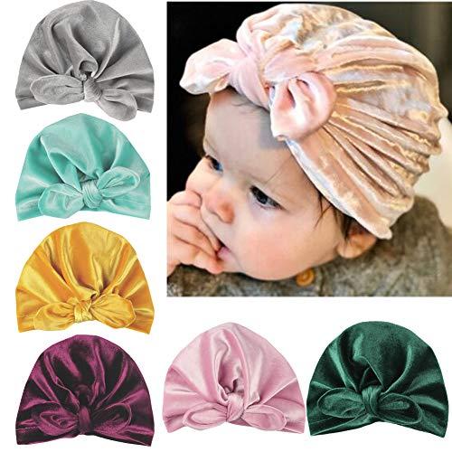 Udolove Baby Headband Set- Girl Soft Turban Knot Rabbit Headwrap Hospital Hat (6pcs Flannel Rabbit Ear Set)