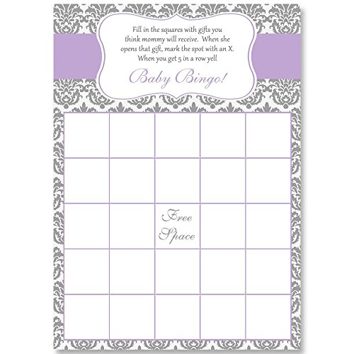 Bingo Games, Damask Baby Shower, Purple, White, Grey, Gray, Purple Baby Shower, Girl, It's A Girl, Baby Shower Games, 24 Printed Game Cards by The Invite Lady