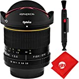 Opteka 6.5mm f/3.5 HD Aspherical Fisheye Lens with Removable Hood for Nikon Digital SLR Cameras + 2-in-1 Deluxe Cleaning Pen + Premium Microfiber Cloth
