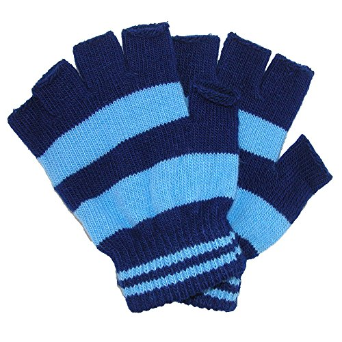 CTM Toddler Stretch Striped Fingerless Gloves, Blue ()
