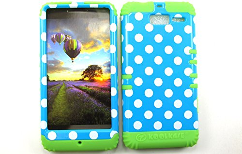 SHOCKPROOF HYBRID CELL PHONE COVER PROTECTOR FACEPLATE HARD CASE AND GREEN SKIN WITH STYLUS PEN. KOOL KASE ROCKER FOR MOTOROLA DROID RAZR M XT907 POLKA DOTS BLUE WHITE GR-TP1633 (Droid Razr M Case Infinity)