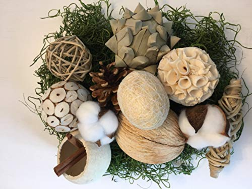 (Wreaths For Door Bag Assorted Decorative Balls for Bowls Vase Filler Table Centerpiece Rattan Twig Balls Cotton Bolls Pods Natural Botanicals Bowl Filler with Green Moss Farmhouse to Traditional)