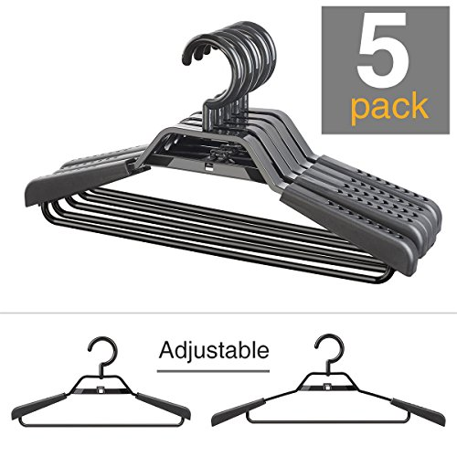"HOSUE DAY Coat Hangers Eco-friendly 100% PP New Material Extra Wide Adjustable Shoulder Suits Coats Cascading Hangers Heavy Duty 15""-20"" Plus Size Garment Plastic Hangers with Swivel Hook 5 (5 Pack Plastic Hangers)"