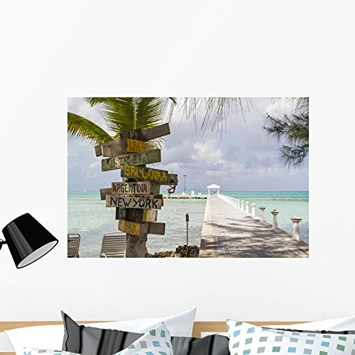 Wallmonkeys Rum Point Signpost Wall Mural Peel and Stick Vinyl Graphic (36 in W x 24 in H) - Rum India