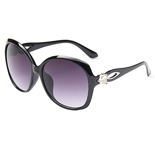 Amazon.com: HUAYI Women\'s Retro Large Frame Eyeglasses Sunglasses ...