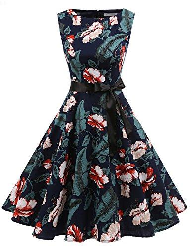 Gardenwed Women's Audrey Hepburn Rockabilly Vintage Dress 1950s Retro Cocktail Swing Party Dress
