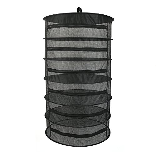 Hanging Herb Drying Net Flower Dry Rack 6 Layer Black Mesh Enclosed w/ Zipper Opening (D24'' X H 40'') by BSTPART