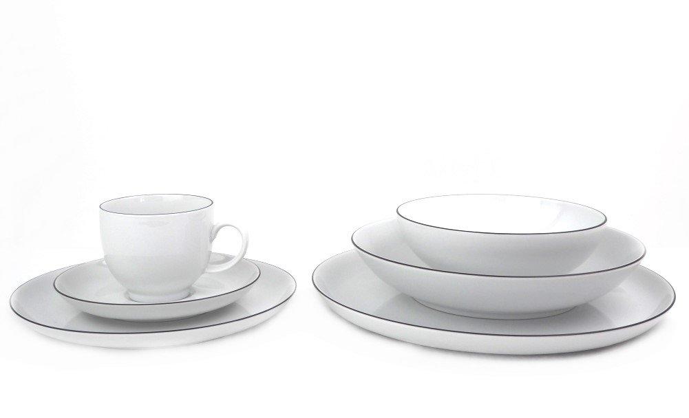Porzellan Kombiservice 36-teilig Seltmann Weiden inkl. 6 Kaffeebecher Lido Black Line