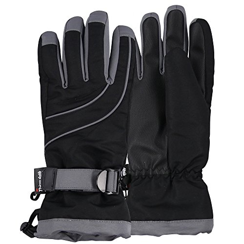 Lined Windproof Gloves (Women's Thinsulate Lined Waterproof Ski Glove (Black/Dark Grey, Small/Medium))