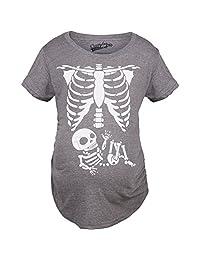 Maternity Skeleton Baby Shirt Halloween Costumes Holiday Funny Pregnancy Shirts (Grey) XL
