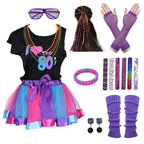 Easy 80's Halloween Costumes (I Love 80s Rainbow Tutu Skirt Child Girl's Costume Accessories Set (10-12,)