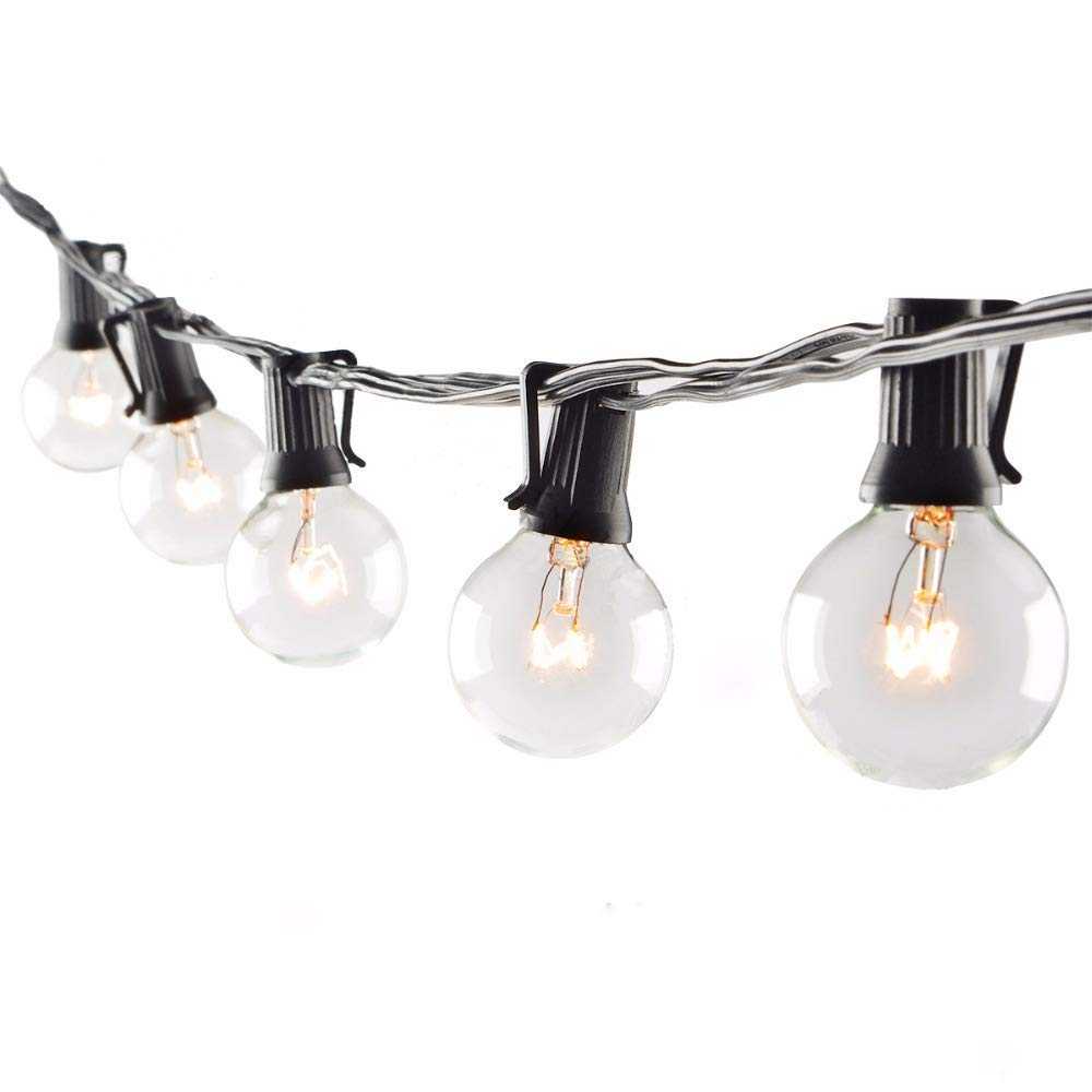 Boutique window 100FT Outdoor Patio String Lights with 102 Clear Globe Bulbs-UL Listed for Indoor/Outdoor-Black Wire by Boutique window