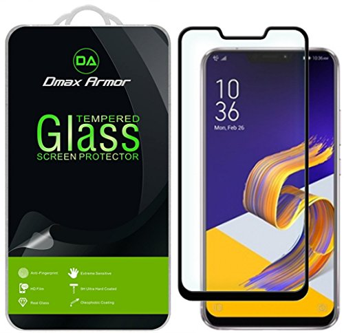 [2-Pack] Dmax Armor for Asus Zenfone 5Z (ZS620KL) [Tempered Glass] Screen Protector, (Full Screen Coverage) with Lifetime Replacement (Black)