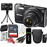 Nikon Coolpix S7000 16 MP Digital Camera (Black) + 32GB Card + Reader + Spare Battery + Case + DigitalAndMore CREATOR Accessory Bundle