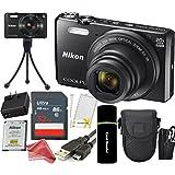 Nikon Coolpix S7000 16 MP Digital Camera (Black) + 32GB Card + Reader + Spare Battery + Case + DigitalAndMore CREATOR Accessory Bundle