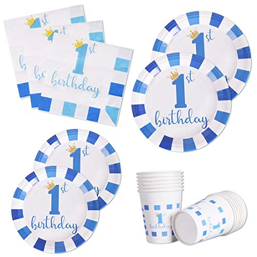 120 PCS First 1st Party Supplies Disposable Dinnerware Set Dinner Paper Plates Napkins Cups Decoration, Serves 24(For 1st Birthday Blue)