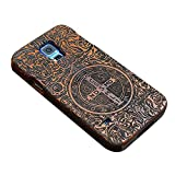 """Happy Hours - Galaxy S5 5.1"""" Engraved Wooden Case / 2-in-1 Shockproof Drop Protection Cover Shell with Velvet Inside for Samsung(Unique Pattern)"""