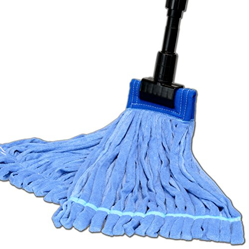 Large Microfiber Tube Mop with Stainless Steel Handle | Industrial Wet Mop | Absorbent and Durable with Great Cleaning Power (Blue) (Steel Blue Strips)