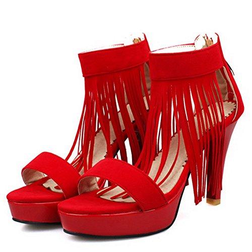 TAOFFEN Femmes Mode Talons Hauts Sandalias Plateforme Bout Ouvert Ankle Wrap Zapatos De La Franse Rojo