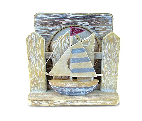 CoTa Global Rustic Wooden Coaster with Sailboat Fence Holder - Set of 5, Handcrafted Intricate & Meticulous Wood Art Table Counter Protector Nautical Coastal Beach Themed Bar Home & Kitchen Accessory