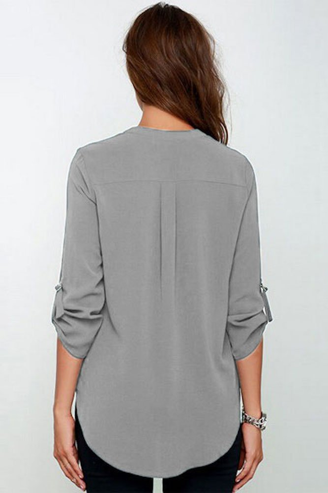 roswear Women's Casual V Neck Cuffed Sleeves Solid Chiffon Blouse Top Grey XX-Large by roswear (Image #3)