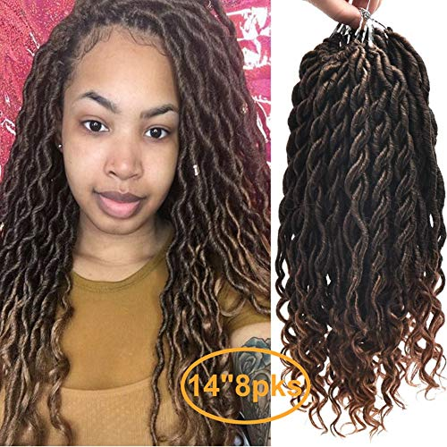 FQNing 14inch 8packs Faux Locs Crochet Hair Light Weight Soft Wavy Curly Ombre Goddess Locs Synthetic Brading hair extensions #1B/30