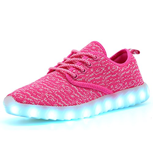EQUICK Kids Led Light Up Shoes Fashion Breathable Knitting Children Casual Running Sneakers (Little Kid/Big Kid),001,06,33 Image