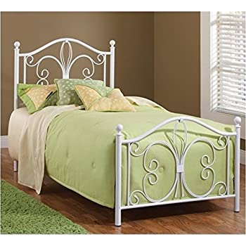 hillsdale furniture 1687bqr ruby bed set with rails queen textured white - White Metal Queen Bed Frame