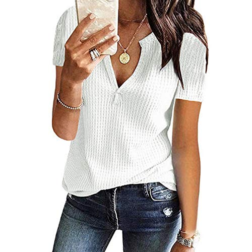 Womens V Neck Henley Shirts Ribbed Short Sleeve Waffle Knit Loose Fitting Warm Tee Tops Casual Loose Fit Tees White