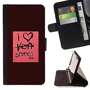 BullDog Case - FOR/Sony Xperia m55w Z3 Compact Mini / - / i love shoes fashion design pink maroon /- Monedero de cuero de la PU Llevar cubierta de la caja con el ID Credit Card Slots Flip funda de cuer