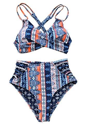 CUPSHE Women's Boho Print Lace Cross Front High Waist Bikini Small Blue