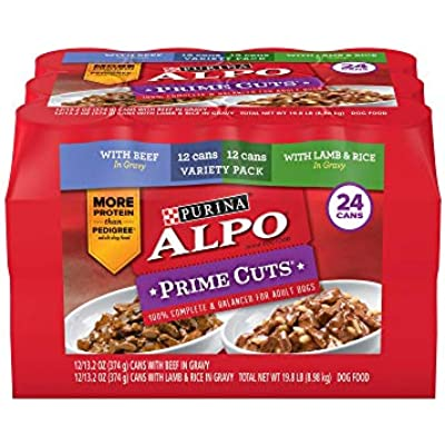 An Item of Purina Alpo Prime Cuts Beef in Gravy and Lamb and Rice in Gravy Wet Dog Food, Variety Pack (13.2 oz. cans, 24 ct.) - Pack of 1