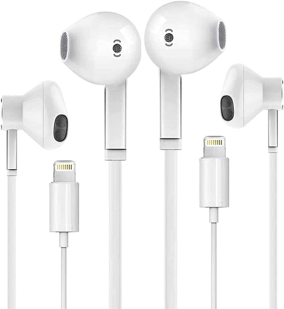 2 Pack-Apple Earbuds with Lightning Connector(Built-in Microphone & Volume Control) in-Ear Stereo Headphones Headset Compatible with iPhone 12/SE/11/XR/XS/X/7/7 Plus/8/8Plus - Support All iOS System