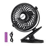 Battery Operated Clip On Mini Desk USB Fan With Rechargeable 2600mAh Battery & USB Cable. 360°Rotation, Adjustable Speed. Cooling Portable Small Stroller Fan for Baby, Car Seat, Gym, Travel, Treadmill