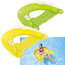 """Intex Sit N Float Inflatable Lounge, 60"""" X 39"""", 1 Pack (Colors May Vary)"""