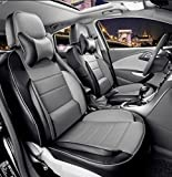 AutoDecorun Custom Fit Seat Covers Protection For Jaguar XE XJ XF XJL PU Leather Car Seat Cover Lumbar Supports Car Seat Cushion Front & Rear Complete Set (Black X Grey)