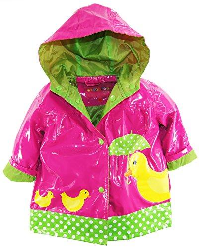 Wippette Baby Girls Infant Waterproof Vinyl Fully Lined Hooded Duck Rain Jacket, Fuchsia, 24 Months