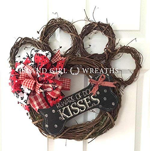 Dog Wreath, Dog Wreaths, Grapevine Dog Wreath, Paw Wreath, Paw Print Ribbon, Paw Print Ribbon, Beware Of Dog Kisses