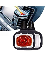 in-Car Sauce Cup Holder Dip Clip Bowl Plate Holder Ketchup Mini Dipping Cups Sauce Cup Holder (2 Packs, Black)