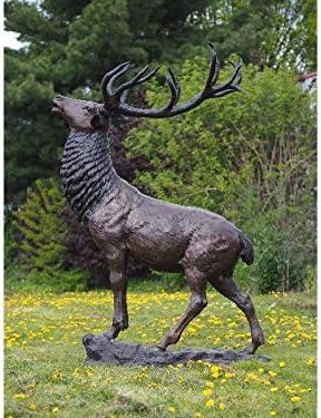 Thermobrass - Escultura de bronce de ciervo grande sobre piedra, decoración para el jardín, 150 x 255 x 70 cm: Amazon.es: Hogar