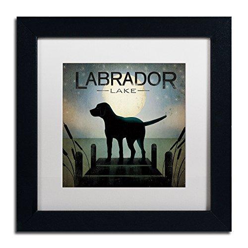 Moonrise Black Dog Labrador Lake Framed Art by Ryan Fowler, 11 by 11-Inch, White Matte with Black Frame